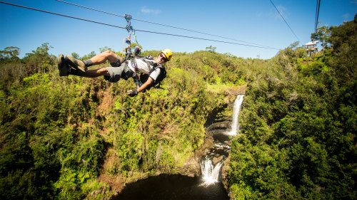 Zipline Tour & Sunset Volcano Dinner