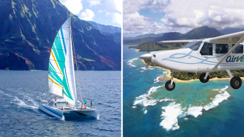 Combo Tour: Na Pali Sunset Sail & Circle Island Flight