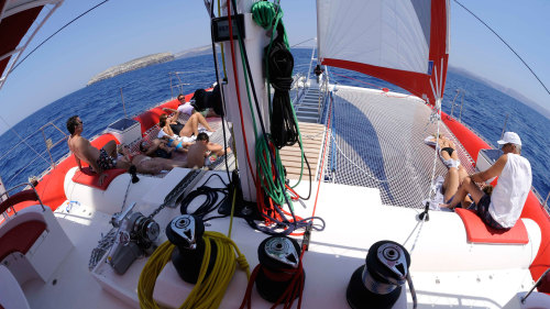 Catamaran Caldera Cruise With Barbecue By Santorini Sailing Awesome Dream Catcher Boat Santorini